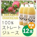 完熟!葉とらずりんごジュース【100%サンふじストレート】1L×12本 商品番号:F400