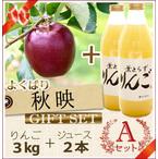 【予約】【数量限定】よくばり葉とらず秋映Aセット(りんご3kg+ジュース2本)商品番号:A513