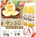 【予約】【数量限定】よくばり葉とらずサンふじAセット(りんご3kg+ジュース2本)商品番号:F513
